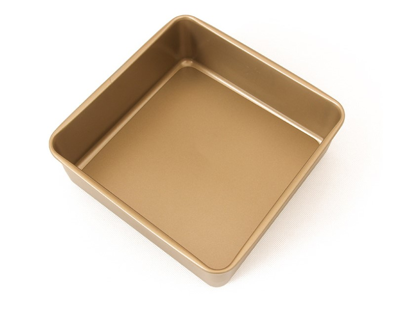 8.5'Carton Steel Deep Square Cake Pan Wth Removable Bottom-Gold (13)