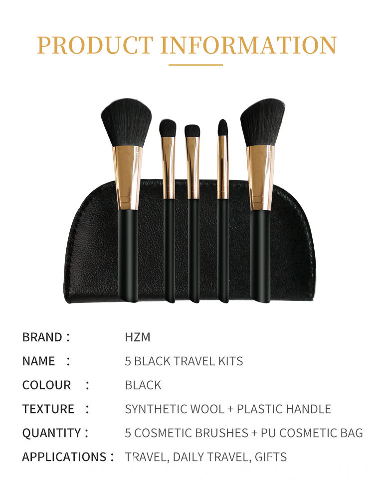 5 PIECE Essential travel makeup brush set 1-2