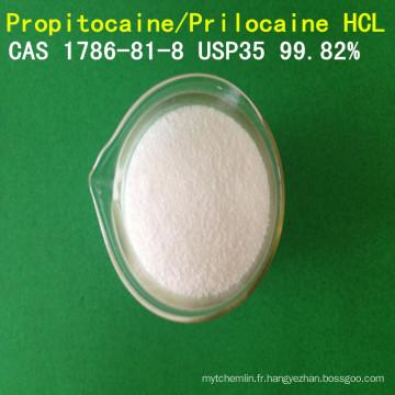 Chlorhydrate de propitocaïne de haute pureté d'USP / chlorhydrate de Prilocaine / HCL CAS 1786-81-8 local d'anesthésique de Prilocaine