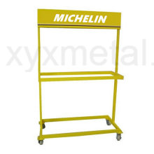 Rolling Movable Tire Metal Exhibition Stand Tire Display Rack