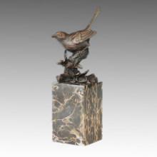 Pájaro Birdle de la escultura del bronce animal que talla la decoración Estatua de cobre amarillo Tpal-269 (B)