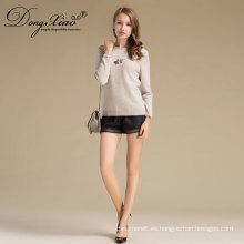 Color crema de cuello redondo estilo corto Damas hecho a mano de punto jersey patrones de suéter