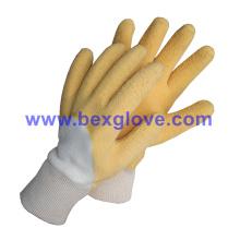 Baumwoll-Jersey-Liner, Baumwoll-Strick-Handgelenk, Latex-Beschichtung, Ripple Styled Crinkle Finish Handschuh