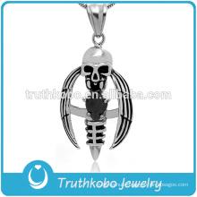 Punk Death with Black CZ Stone Skull Wholesale Men's Crucifix Pendant Religious Cross Necklace
