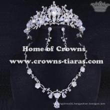Unique Crystal Wedding Tiaras And Necklace Set