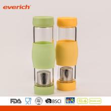 Bouteille d'eau de verre à base de borosilicate de haute qualité avec inserts