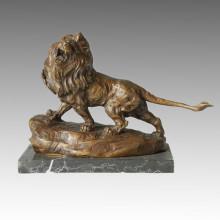 Animal Bronze Sculpture Lion Carving Deco Brass Statue Tpal-081