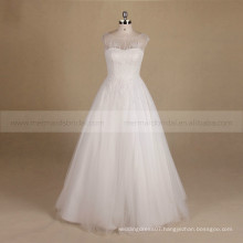 Dainty Scoop Neck Special Bling Beads A-line Wedding Dress