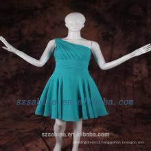 2017 simple design cheap one shoulder pleat chiffon prom dress