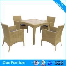 PE ротанга мебель набор обеденный стол из тикового дерева