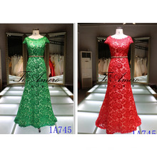 Cap Sleeve Lace Ladies Dress Long with Beaded Belt