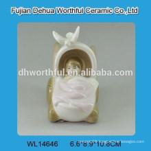 Creative bassinet baby design white ceramic decoration