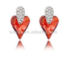 Dubai bride unique heart shape ruby wedding earrings