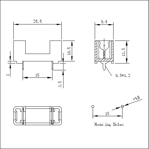 FT-A-L-SN-B-520 Fuse Holder For 520MM