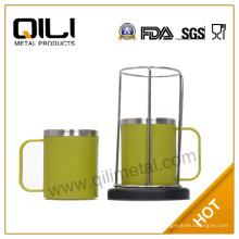Venta caliente verde 4pc 220ml de acero inoxidable color café Copa conjunto