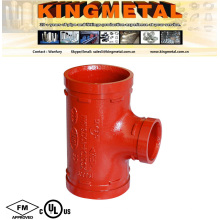 FM/UL Ductile Iron Grooved Coupling Reducing Tee Insteaded of Victaulic.