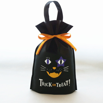 Bolsa de pie no tejida de Halloween con tirador manual