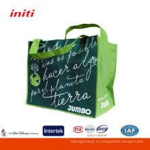 Экологичное качество печати Ламинированные складные плетеные сумки