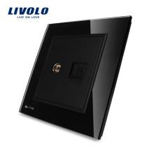 Livolo Manufacture Panneau de verre noir de luxe pour ordinateur mural 2 gangs et prise TV Prise murale VL-W292VC-11