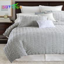 Satin strip wholesale comforter sets luxury bedding set white duvet cover hotel bedsheet