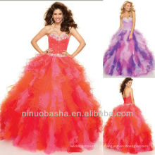Sweetheart Ball Gown Tiered Beaded Sweep Train Sequin Multi Organza Vestido Quinceanear Vestido Pageant Sweet 16