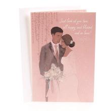 Rosa gesegnet und in der Liebes-Mahagoni-Hochzeits-Gruß-Karten-Einladungs-Hochzeits-Karte