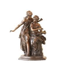 Weibliche Figur Bronze Skulptur Buch Schwestern Indoor Messing Statue TPE-922
