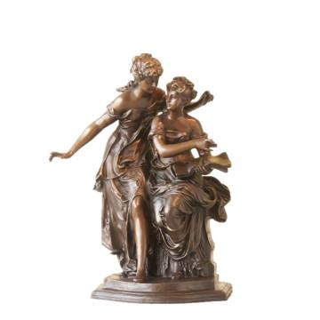 Female Figure Bronze Sculpture Book Sisters Indoor Brass Statue TPE-922