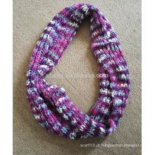 Mulheres inverno fancy fios moda acrílico tricotado ombre infinidade lenço