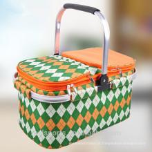 Saco refrigerador de dobramento com a cesta do piquenique do suporte para a venda Cesta de piquenique da pessoa 6 para o piquenique
