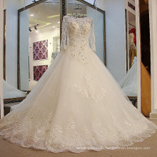 LS09235 Real scoop neckline long sleeve lace train dainty long straight wedding dresses in the us