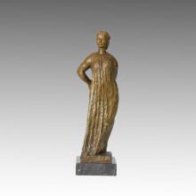 Женская фигура бронзовая скульптура деревенская женщина украшения Латунь статуя ТПЭ-393