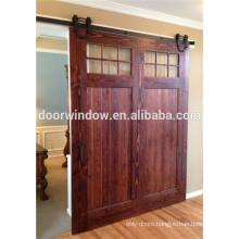 Interior wood partition design glass insert wooden barn door