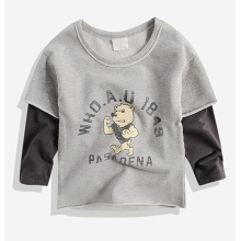 Camiseta oscura de la manga del oso de la historieta en venta caliente