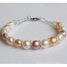 Cheap Handmade Cultured Freshwater Pearl Bracelet (EB1507-2)