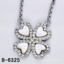 Collar colgante de plata de ley 925 con concha blanca