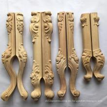 Pierna de madera tallada para pie de muebles de mesa, patas de sofá