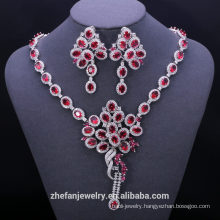Fashion turkish 925 sterling silver fake red ruby cubic zirconia wedding jewelry sets