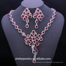 Moda turca 925 sterling silver vermelho falso rubi cúbicos de zircônia conjuntos de jóias de casamento