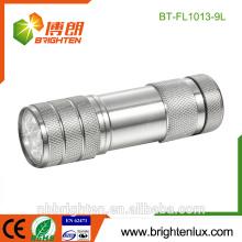 Großhandelspreis-Aluminiumlegierungs-Notfallgebrauch-Taschen-Größe Soem 3 * AAA Batterie 9 führte Taschenlampen-Bulkfackel-Licht geführte Marke