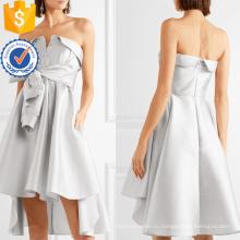 Изящный Серебряный без бретелек лук-подробный Атлас мини-летнее платье Производство Оптовая продажа женской одежды (TA0325D)