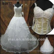 RSW77 Shoulder Straps Beaded Corset Layered Lace Edged Skirt Wedding Dress