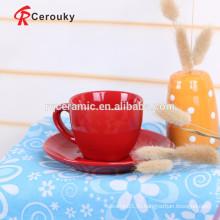 Красный цвет застекленный керамический стаканчик чашки кофе набор