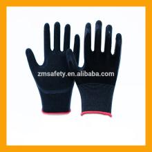 Black Rubber Grip Palm Handschuhe Nylon Latex beschichtete Sicherheitshandschuhe