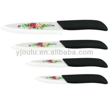 OL022 Керамический нож с принтом и ручкой TPR