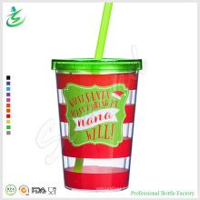 Vaso de acrílico promocional de la pared doble de 12oz para la Navidad (TB-A1)