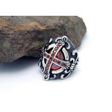Helligkeit Rubies Cross Ringe Titan Stahl Modeschmuck