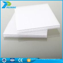China nuevos productos teñido de plástico sunroom paneles toldos material techo hoja