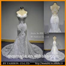 Lace white alibaba vestidos de casamento sereia espaguete straps vestido de noiva baixo corte de volta ver pelo vestido de festa das meninas do vestido ocidental
