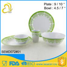 custom tableware round melamine plastic dinnerware set
